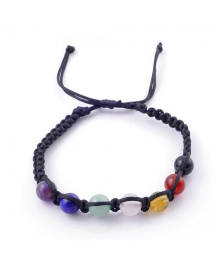 Natural stone 8 mm 7 chakra slipknot bracelet