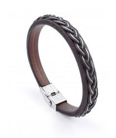 Stainless steel & leather bracelet