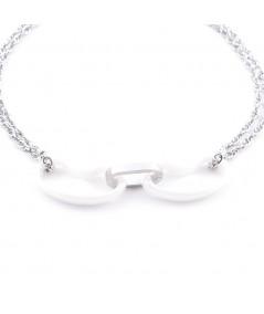 Elégant Bracelet en Acier et Céramique pour Femmes
