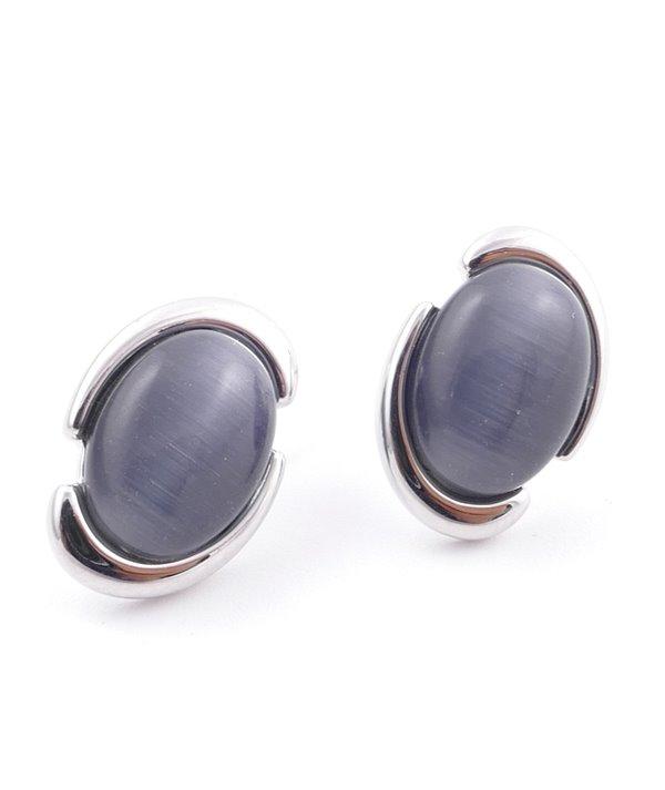 Boucles d'oreilles en laiton collé avec bain de rhodium et pierre oeil de chat